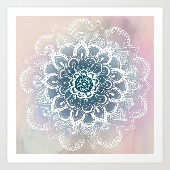 Winter Fountain Mandala Art Print