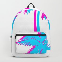 Beach Vaporwave Palm Tree Gift Aesthetic Tropical Palm Blue & Pink Backpack