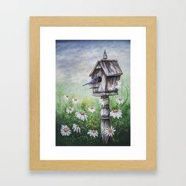Daisies and Bluebirds Framed Art Print