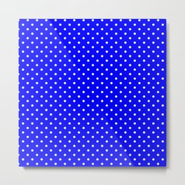 Dots (White/Blue) Metal Print