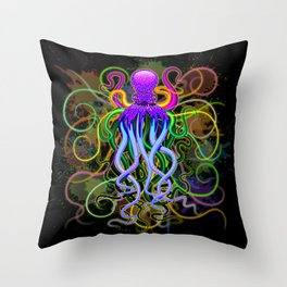 Octopus Psychedelic Luminescence Throw Pillow