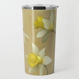 Daffodil and Dragonfly Travel Mug