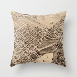 Vintage Pictorial Map of East Cambridge MA (1879) Throw Pillow