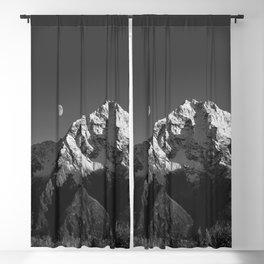 Moon Over Pioneer Peak B&W Blackout Curtain