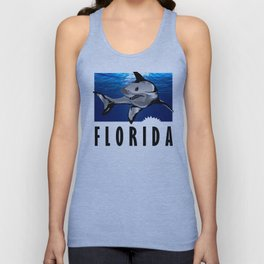 Florida Shark in Deep Blue Unisex Tank Top