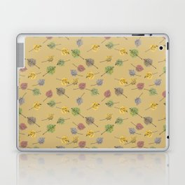 Colorado Aspen Tree Leaves Hand-painted Watercolors in Golden Autumn Shades on Jute Beige Laptop & iPad Skin