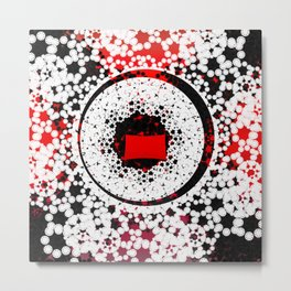 Red Black White Abstract pattern Metal Print