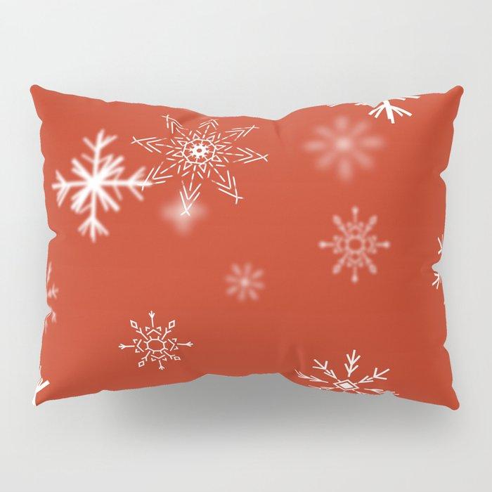 Christmas Snowflakes: Red Pillow Sham
