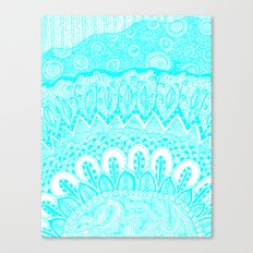 Blue and White Doodle Canvas Print