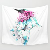hummingbird Wall Tapestries featuring Hummingbird by Alexis Marcou