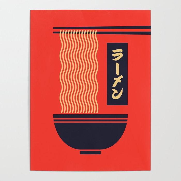 Ramen Japanese Food Noodle Bowl Chopsticks - Red Poster