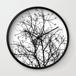 Naked Treetop in black and white stencil Wall Clock