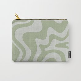 Liquid Swirl Abstract Pattern in Sage Green and Light Sage Gray Carry-All Pouch
