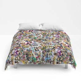 Jojo's Bizarre Adventure - Colored Manga Panel Collage Comforters