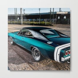 1969 MOPAR Hemi Charger RT in Q5 Turquoise Blue Metal Print