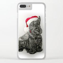 Santa Scottie Dog Clear iPhone Case