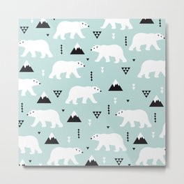 Polar Bears geometric winter wonderland - illustration arctic animal pattern print Metal Print