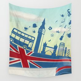 UK LONDON  element on flag with sky background Wall Tapestry