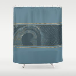 Blueprint  Feather and Gold 1 Shower Curtain
