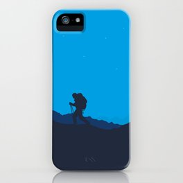 Hiker At Blue Winter Night iPhone Case