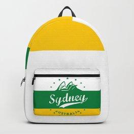 Sydney City, Australia, green yellow, poster Backpack