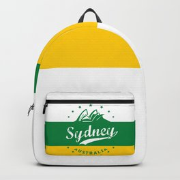 Sydney City, Australia, green yellow, poster Backpack