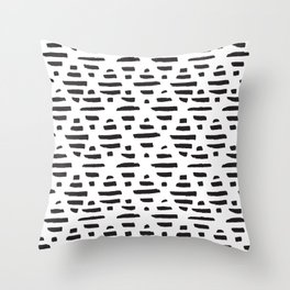 Hand drawn pattern black and white Throw Pillow