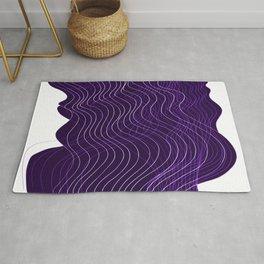 Waves Lines in Purple Rug