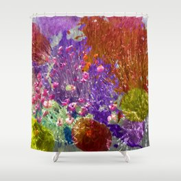 Painted Fields of Flowers Shower Curtain