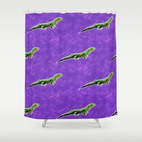 lizard Shower Curtains featuring Lizard by Skekfaer