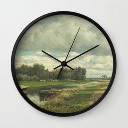 Willem Roelofs  - Landscape In The Environs Of The Hague Wall Clock