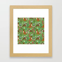 Boxer dog christmas pattern must have holiday themed dog breed pet friendly accessories for home Framed Art Print