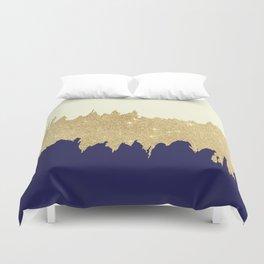 Navy blue ivory faux gold glitter brushstrokes Duvet Cover