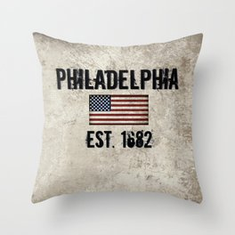 Tribute to Philadelphia, City of Brotherly Love Throw Pillow