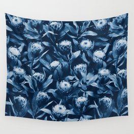 Evening Proteas - Denim Blue Wall Tapestry