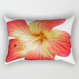 Gorgeous Red And Gold Hawaiian Hibiscus Flower No Text Rectangular Pillow