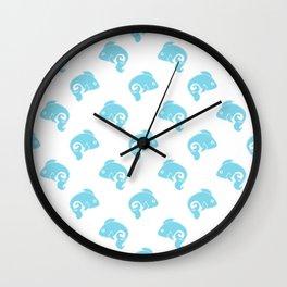 Fish Pattern Blue White Wall Clock