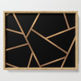 Black and Gold Fragments - Geometric Design Serving Tray