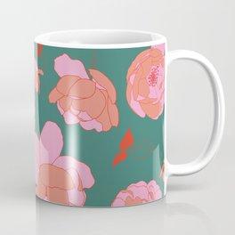 English Roses in Pink and Green Coffee Mug