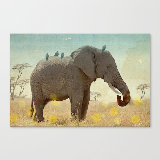 along for the ride _ an elephant and his feathered friends Canvas Print
