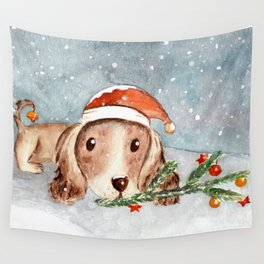 Christmas Puppy Look Wall Tapestry