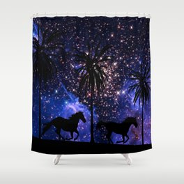 Galloping horses under starry sky Shower Curtain