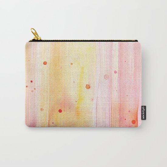 Pink Orange Rain Watercolor Texture Splatters Carry-All Pouch
