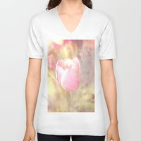 tulip V-neck T-shirts featuring Tulip by Elizabeth Wilson Photography