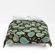 Hedgehog Paisley_Teal BgBlack Comforters
