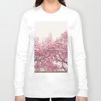 central park Long Sleeve T-shirts featuring Central Park - Cherry Blossoms by Vivienne Gucwa