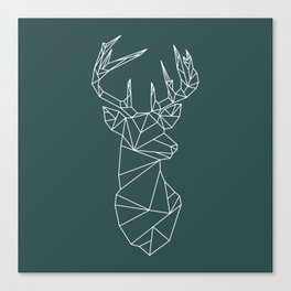 Geometric Stag (White on Slate) Canvas Print