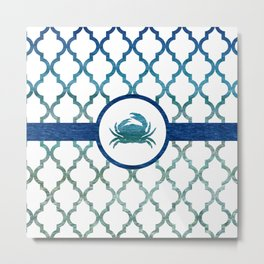 Crab: Tropical Water Moroccan Pattern Metal Print