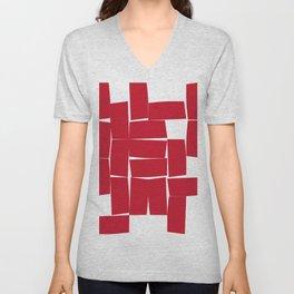 Red Minimalist Blocks Unisex V-Neck