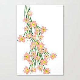 Peachy Pink Floral Canvas Print
